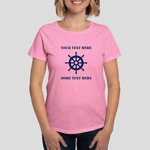 Custom Nautical Ship Wheel Icon Sailing T-Shirt