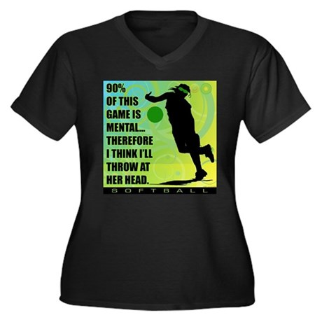 2011 Softball 72 Women's Plus Size V-Neck Dark T-S