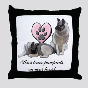 Elkie Pawprints Throw Pillow