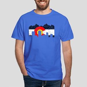 Denver, Colorado Flag Distressed Dark T-Shirt