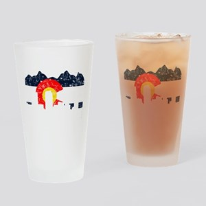 Denver, Colorado Flag Distressed Pint Glass
