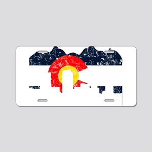 Denver, Colorado Flag Distressed Aluminum License