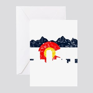 Denver, Colorado Flag Distressed Greeting Cards (P