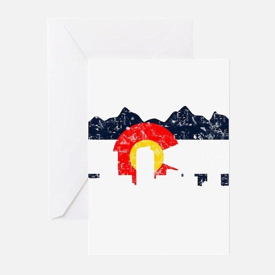 Denver, Colorado Flag Distressed Greeting Cards (P