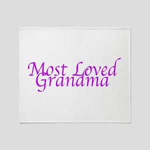 Most Loved Grandma Throw Blanket