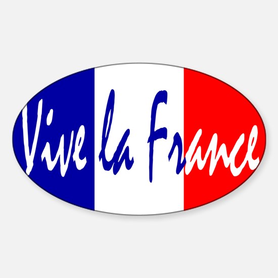 French Flag Vive La France Sticker (Oval)