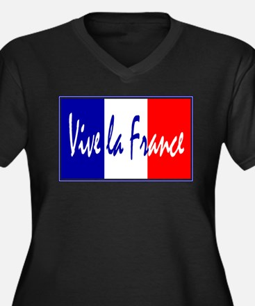 French Flag Vive La France Women's Plus Size V-Nec