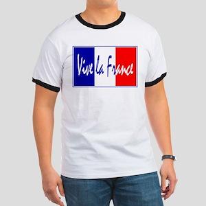 French Flag Vive La France Ringer T