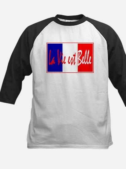 French Flag Vive La France Kids Baseball Jersey