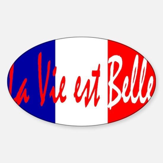 French Flag Vive La France Sticker (Oval)