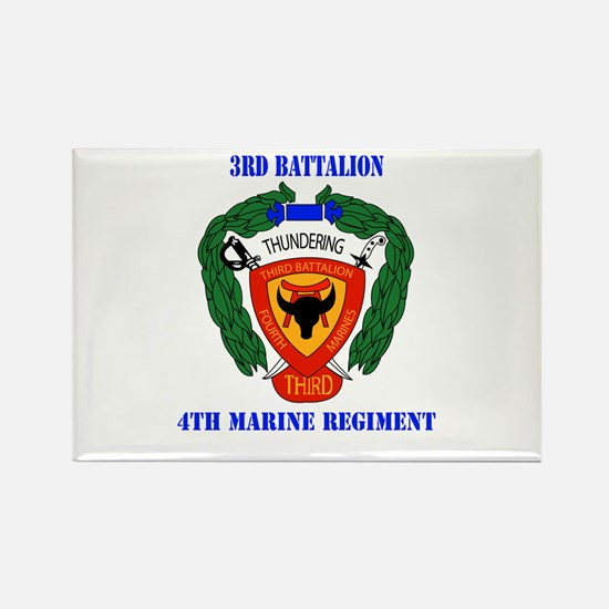 3rd Battalion 4th Marines with Text Rectangle Magn