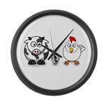 Cow Chicken Egg? Large Wall Clock