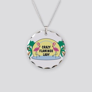 Crazy Flamingo Lady Necklace Circle Charm