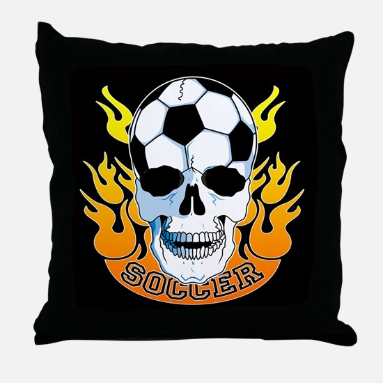 Soccer Skull Throw Pillow