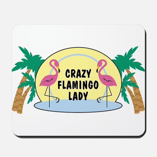 Crazy Flamingo Lady Mousepad