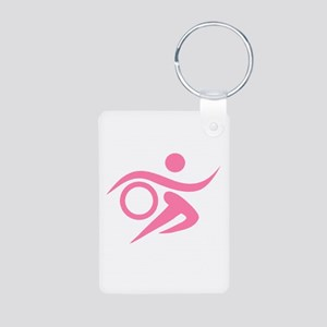 Pink Thriathlete Aluminum Photo Keychain