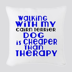 Walking With My Cairn Terrier Woven Throw Pillow