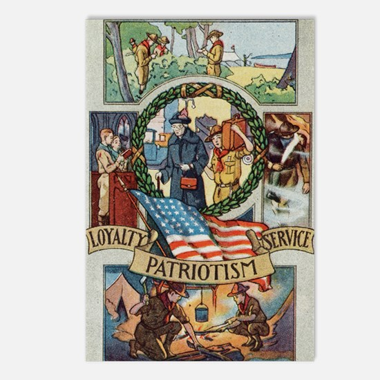 Loyalty Patriotism Service Postcards (Package of 8