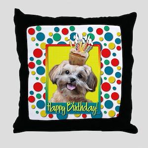 Birthday Cupcake - ShihPoo Throw Pillow