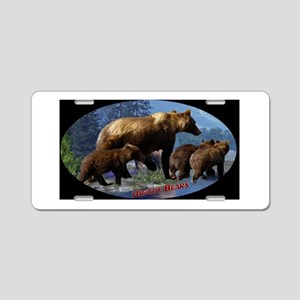 Mountain Grizzly Bears Aluminum License Plate