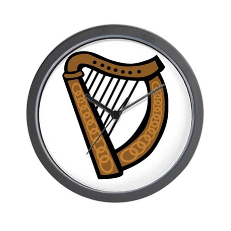 Celtic Harp Icon Wall Clock