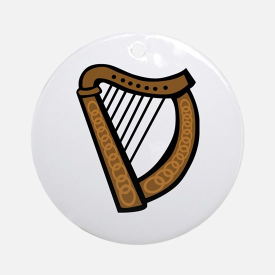 Celtic Harp Icon Ornament (Round)