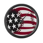 Baseball flag Large Wall Clock