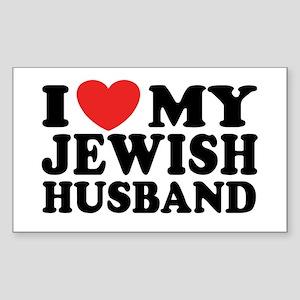 I Love My Jewish Husband Rectangle Sticker