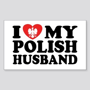 I Love My Polish Husband Rectangle Sticker