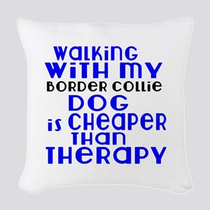 Walking With My Border Collie Woven Throw Pillow