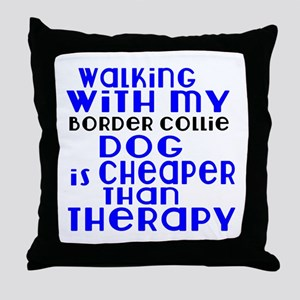 Walking With My Border Collie Dog Throw Pillow