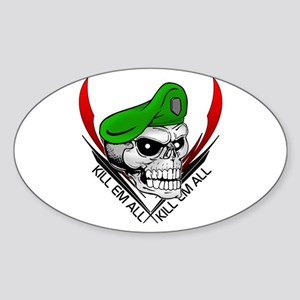 Green Beret Skull Oval Sticker
