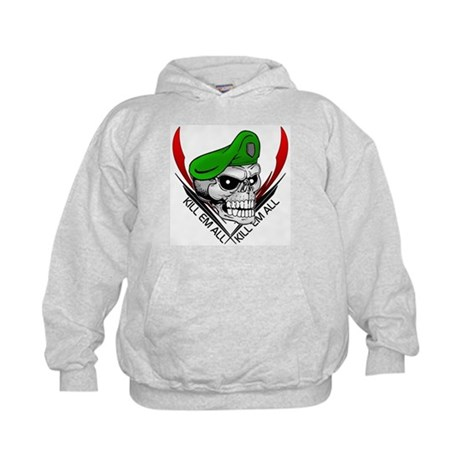 Green Beret Skull Kids Hoodie