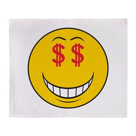 Money Eyes (Greedy) Smiley Fa Throw Blanket