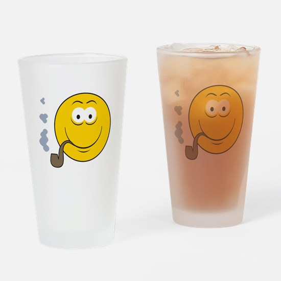 Pipe Smoking Smiley Face Pint Glass