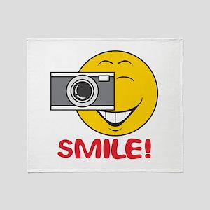 Photographer Smiley Face Throw Blanket