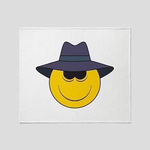 Private Eye/Spy Smiley Face Throw Blanket