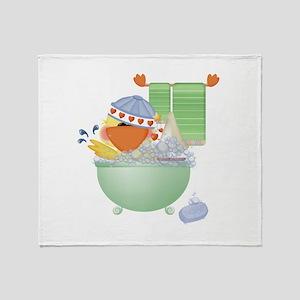 Cute Bathtime Ducky Throw Blanket