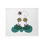 Yellow Daffoldils & Butterfly Throw Blanket