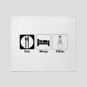 Eat. SLeep. CLick. (Remote Co Throw Blanket