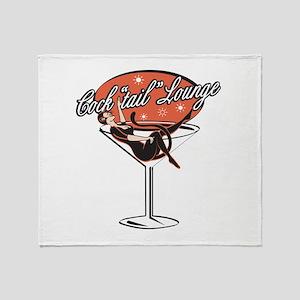 Retro Cocktail Lounge Pin Up Throw Blanket