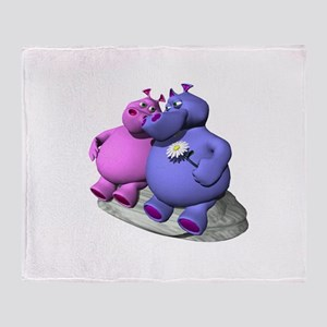 Hippos in Love Throw Blanket