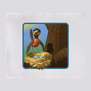 Robin and Bird's Nest Throw Blanket