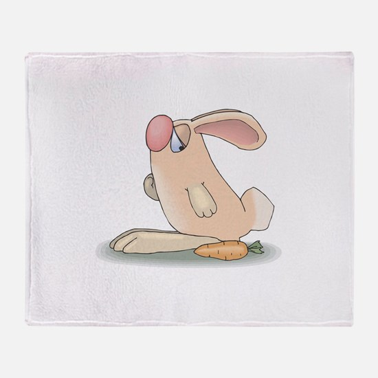 Cute Pink Bunny and Carrot Throw Blanket
