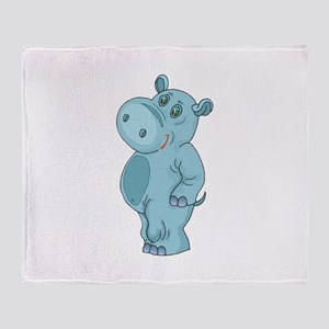 Cute Standing Hippo Throw Blanket