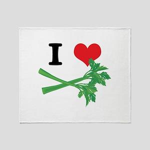 I Heart (Love) Celery Throw Blanket