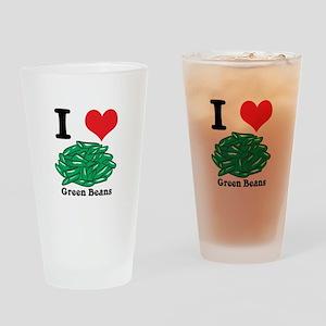 I Heart (Love) Green Beans Pint Glass