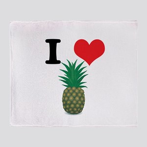 I Heart (Love) Pineapple Throw Blanket