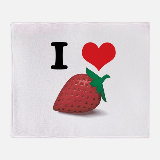 I Heart (Love) Strawberries Throw Blanket