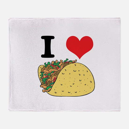 I Heart (Love) Tacos Throw Blanket